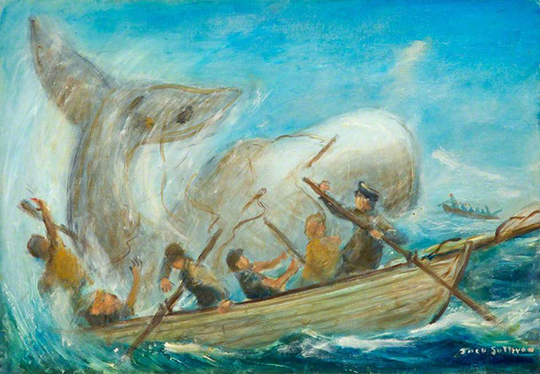 Moby Dick by Jack Sullivan. Oil on board, 35.2 x 50.5 cm. Collection: Butetown History & Arts Centre.